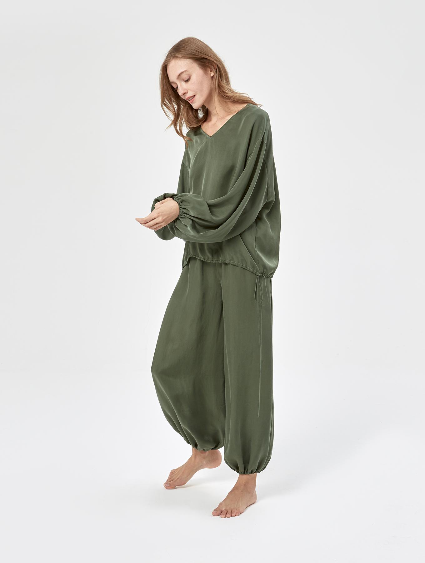 Cool Silk Puff Sleeve Set_002