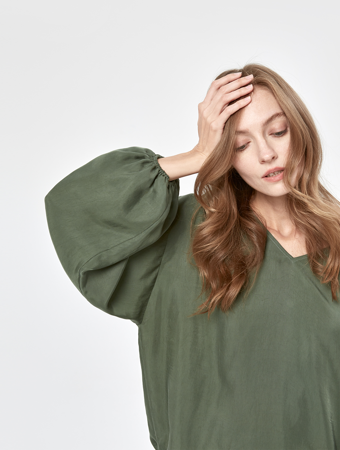Cool Silk Puff Sleeve Set_005