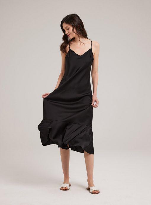 Silk Fishtail Hem Midi Dress