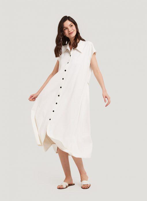 White Buttoned Shirt Dress